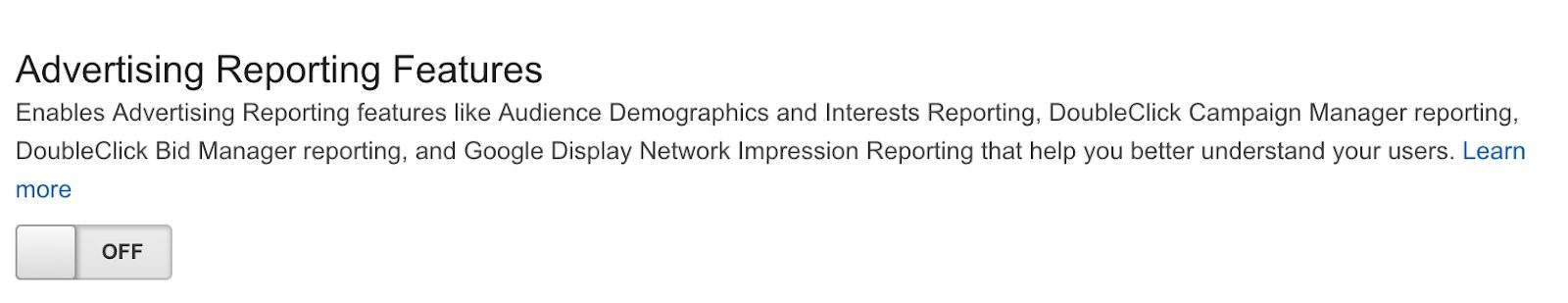 Enabling Advertising Report Features in Google Analytics