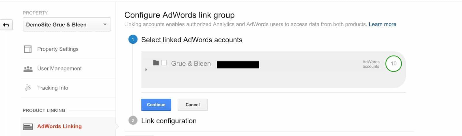 Google Adwords Link in Google Analytics
