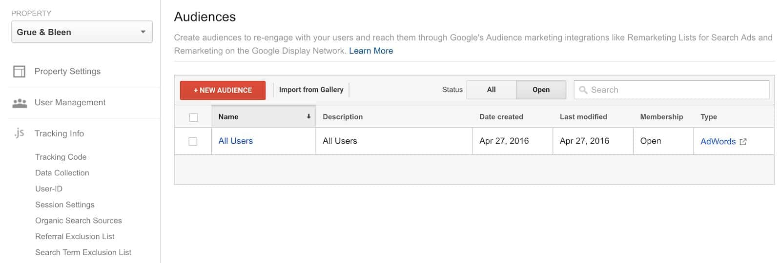 Remarketing Audiences  in Google Analytics