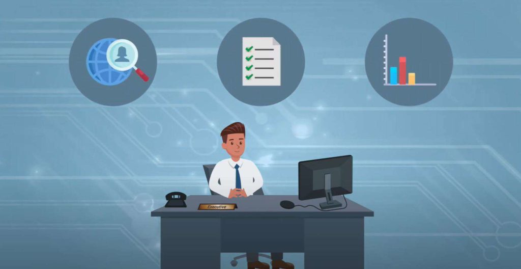 animation of a man at his desk